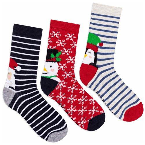 Комплект женских носков Новый год, 3 пары, темно-синий, красный, серый, размер 35-39