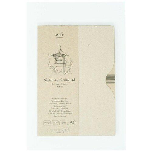 Купить Альбом SM-LT Authentic Natural в папке А4 100л 100 г/м2 белый, склейка EA-100/NT, Smiltainis, Альбомы для рисования