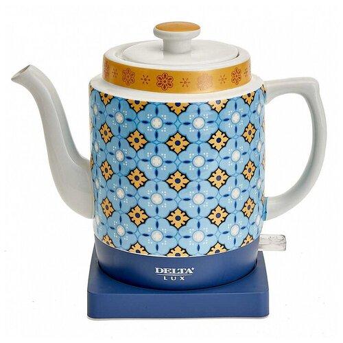 Чайник DELTA LUX DE-1008, синий/белый