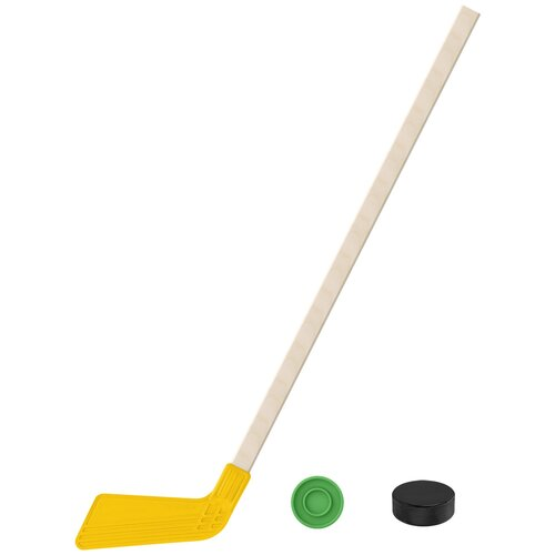 Набор зимний: Клюшка хоккейная жёлтая 80 см.+шайба + Шайба хоккейная детская 60 мм., Задира-плюс