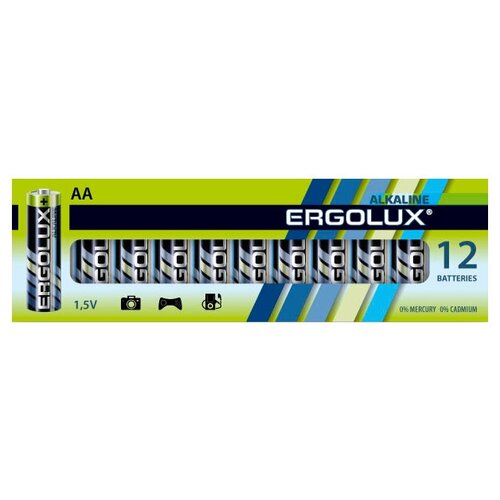 Фото - Батарейка Ergolux Alkaline AA, 12 шт. батарейка energizer max plus aa 4 шт
