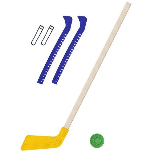 Набор зимний: Клюшка хоккейная жёлтая 80 см.+шайба + Чехлы для коньков синие, Задира-плюс
