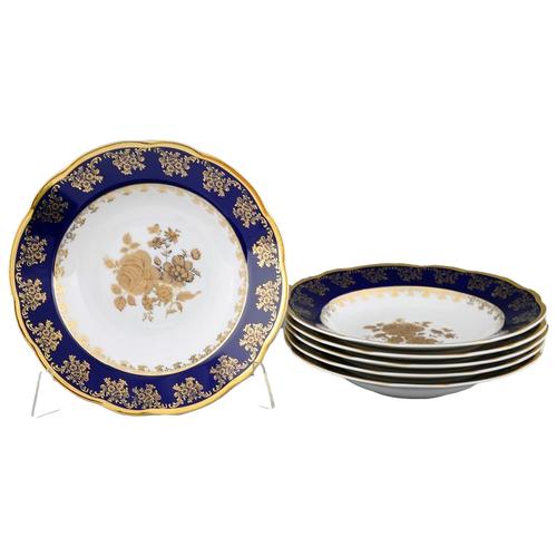 Фото - Набор тарелок Мэри-Энн Темно-синяя окантовка, 23 см, 6 шт., Leander ваза для фруктов мэри энн темно синяя окантовка с цветами 23 см 03116154 0086 leander