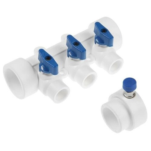 Коллектор VALFEX, 40х20 мм, 3 выхода, отсечные синие краны, воздухоотводчик, полипропилен 6578225
