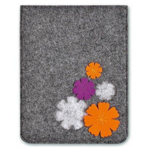 Купить Феникс+ Папка фетровая Цветы 28x22 см (46123) серый, Файлы и папки
