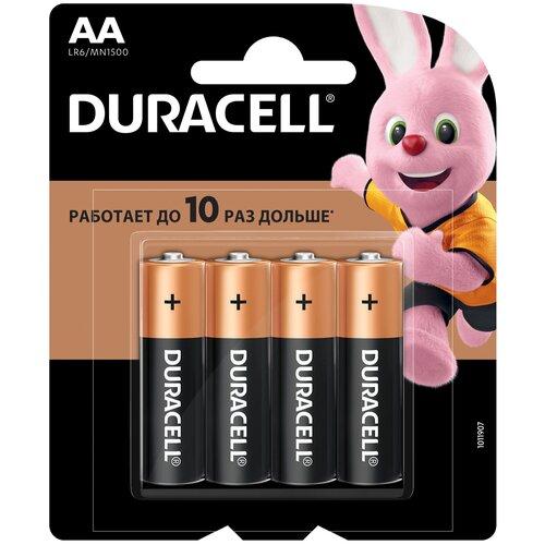 Батарейка Duracell Basic AA, 4 шт. батарейка duracell basic aa 6 шт блистер