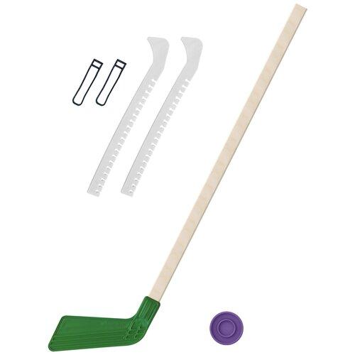 Набор зимний: Клюшка хоккейная зелёная 80 см.+шайба + Чехлы для коньков белые, Задира-плюс