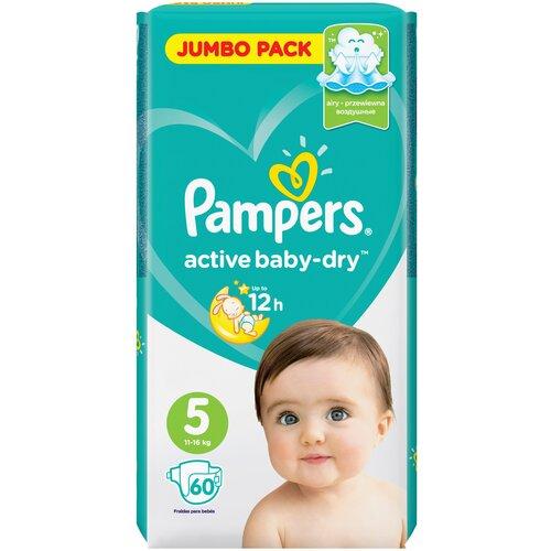 Купить Pampers подгузники Active Baby-Dry 5 (11-16 кг), 60 шт., Подгузники
