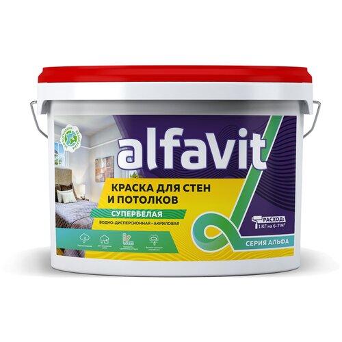 Краска акриловая Серия Альфа Для стен и потолков супербелая белый 3 кг
