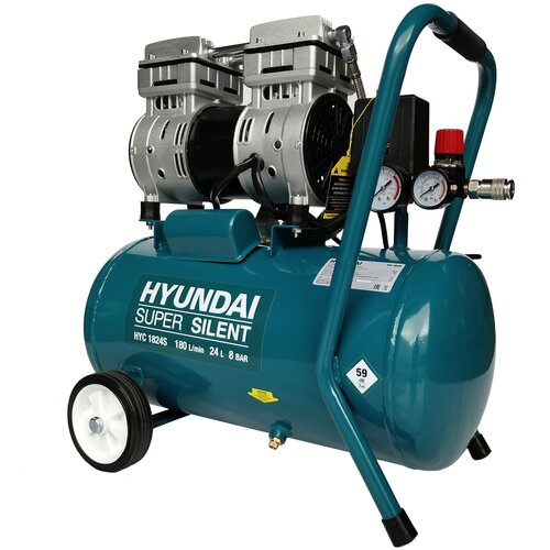 Фото - Компрессор безмасляный Hyundai HYC 1824S, 24 л, 1 кВт компрессор безмасляный hyundai hyc 3050s 50 л 2 квт
