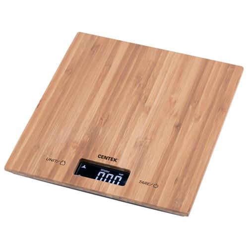 Весы кухонные Centek CT-2466 бамбук сенсор LCD- 59х27 с подсветкой max 5кг шаг 1г.