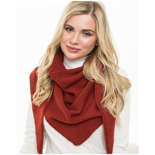 Женский теплый шарф-платок из шерсти, ТМ Reflexmaniya, цвет - терракотовый.