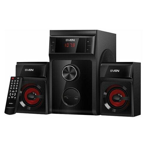 Колонки компьютерные SVEN AC MS-302 2.1 40 Вт FM-тюнер USB SD MP3-плеер дерево черные SV-013554 1 шт.