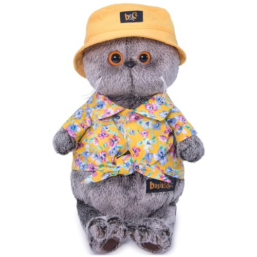 Мягкая игрушка Basik&Co Кот Басик в панаме, 19 см