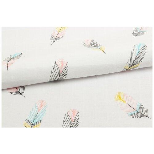 Ткань муслиновая PEPPY, 100х125 см, цвет: перья недорого
