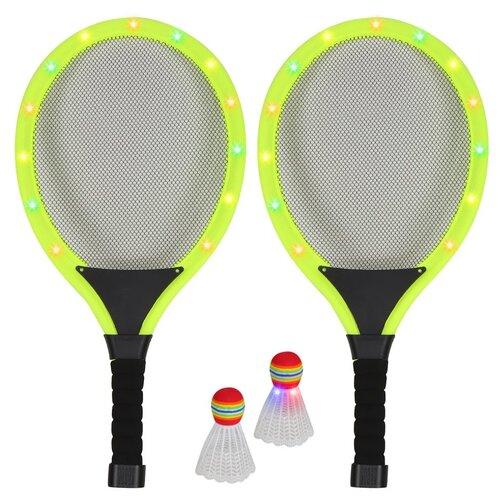 Бадминтон светящийся на батарейках, волан светящийся на батарейках, игровой набор детский для игры в бадминтон, для игры на улице, игра для двоих, активная игра, для детей, для игры в вечернее время, ракетки для бадминтона, воланчик для бадминтона, в комплекте две светящиеся ракетки и два волана, желтый, в сетке 55х5х26 см