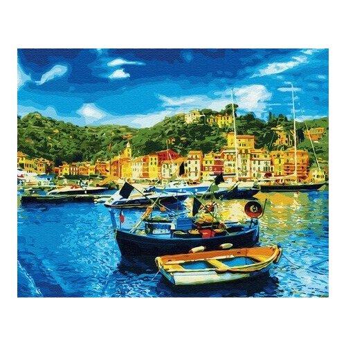 Купить Картина по номерам Средиземноморский причал, 40x50 см. Цветной, Картины по номерам и контурам