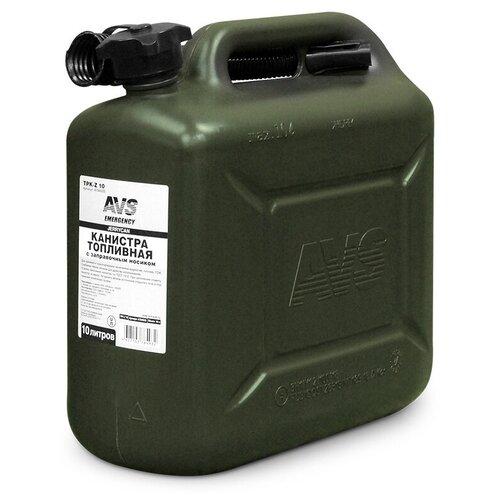 Канистра для топлива AVS TPK-Z10 с заправочным носиком (емкость для топлива, канистра для ГСМ, канистра для бензина, канистра топливная, пластиковая) 10л темно-зеленая - A78493S
