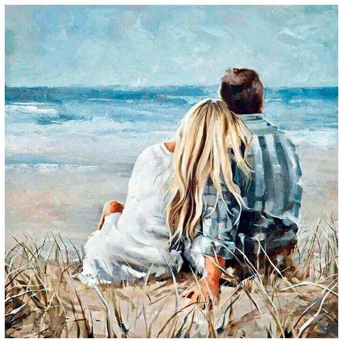Купить Алмазная мозаика На берегу моря, картина стразами Гранни 38x38 см., Алмазная вышивка