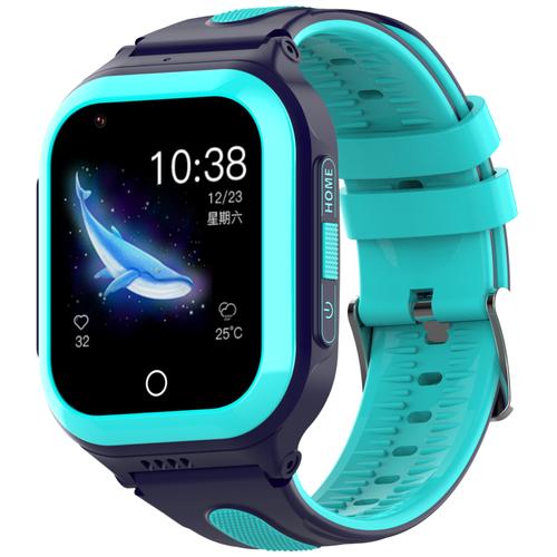 Wonlex KT24S (часы-телефон с поддержкой SIM, видеозвонок, прямой набор номера с блокировкой, сообщения, геолокация GPS-LBS-WiFi, история перемещений, кнопка SOS, обратный звонок, Bluetooth, камера, будильник, игра арифметика, шагомер, влагозащита) синий