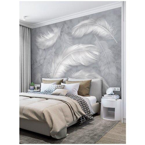 Фотообои Нежные перья в серых тонах/ Красивые уютные обои на стену в интерьер комнаты/ 3Д расширяющие пространство/ На кухню в спальню детскую зал гостиную прихожую/ размер 300х270см/ Флизелиновые