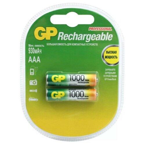 Фото - Аккумуляторы GP Rechargeable 1000 mAh NiMH AAA 1.2V (2 шт) аккумуляторы gp 1000 мач в комплекте с зарядным устройством адаптером 1а и кабелем