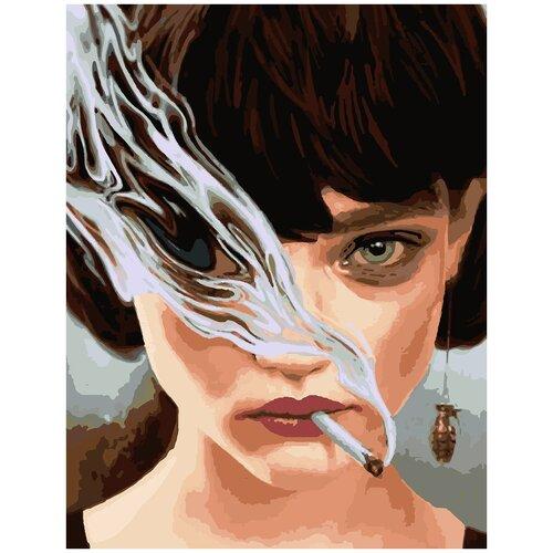 Купить Картина по номерам Девушка в дыму, 80 х 100 см, Красиво Красим, Картины по номерам и контурам
