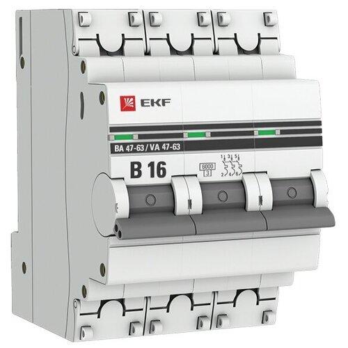 Фото - Автоматический выключатель EKF ВА 47-63 3P (B) 6kA 16 А автоматический выключатель ekf ва 47 63 1p b 6ka 50 а