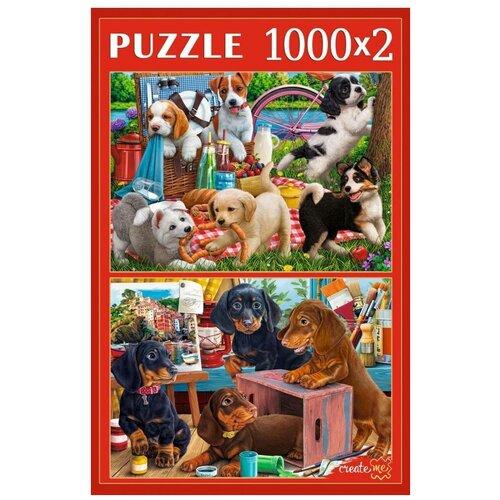 Фото - Рыжий Кот Пазл Рыжий Кот 2х1000 деталей: Игривые щенки пазл рыжий кот забавные щенки пу24 0611