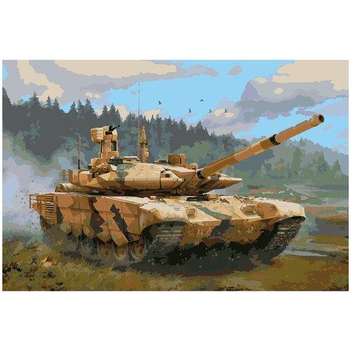 Купить Картина по номерам Т-90 МС, 70 х 100 см, Красиво Красим, Картины по номерам и контурам