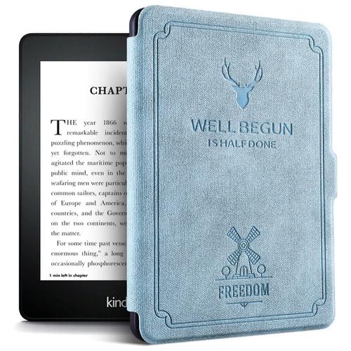 Чехол-обложка MyPads Premium для Amazon Kindle PaperWhite 2018 из высококачественной эко-кожи класса премиум книга в стиле Винтаж под старину синий