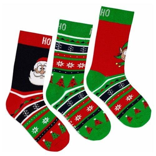 Комплект мужских носков Новый год, красный, зеленый, синий, 3 пары, размер 40-43