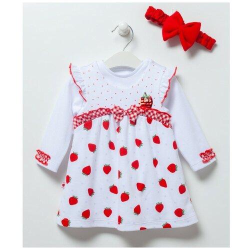 Купить Комплект для девочки из лонгслива, сарафана и повязки Caramell серия Strawberry белый/красный, размер 68-74, Комплекты