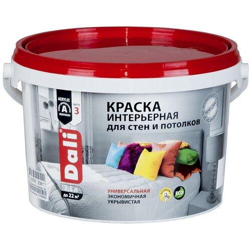Краска акриловая DALI интерьерная для стен и потолков влагостойкая моющаяся глубокоматовая белый 2.5 л