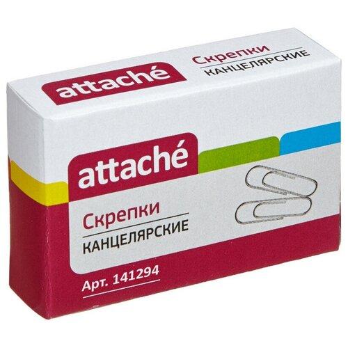 Купить Скрепки Attache, 22, никелевое, овальная, 100 шт, в картонной коробке (серебристый), Скрепки, кнопки