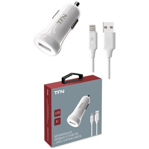 Фото - Автомобильное зарядное устройство TFN 1А + 8 pin, белый автомобильное зарядное устройство tfn 1а microusb black