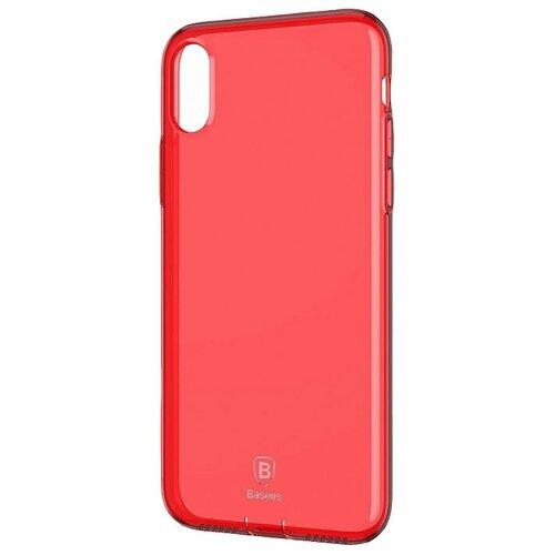 Фото - Чехол-накладка Baseus Simple Series Case (With Pluggy) для Apple iPhone X transparent red чехол накладка baseus thin case для apple iphone x black