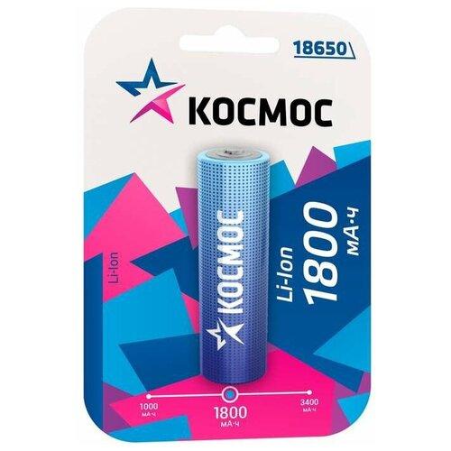 Фото - Аккумулятор Li-Ion 1800 мА·ч КОСМОС 18650-1800, 1 шт. аккумулятор li ion 2600 ма·ч ansmann 18650 с защитой 1 шт