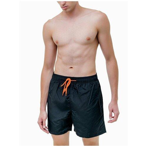 Плавательные шорты мужские однотонные , шорты с сеткой внутри, черный цвет, размер M