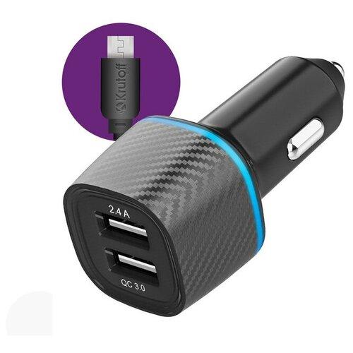 Фото - Зарядное устройство Krutoff CCH-02M 2xUSB 2.4A + QC 3.0 30W + кабель MicroUSB Black 03724 зарядное устройство ldnio a2502c 2xusb microusb pd qc 3 0 36w black ld b4356