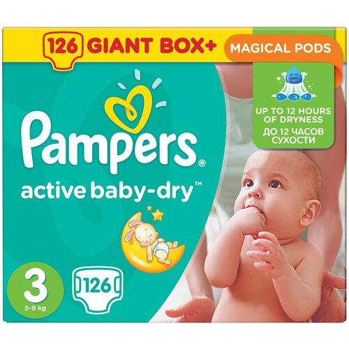 Фото - Pampers подгузники Active Baby-Dry 3 (5-9 кг), 126 шт. pampers подгузники new baby dry 1 2 5 кг 27 шт