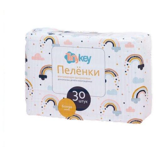 Одноразовые пеленки TinyKey впитывающие одноразовые 60х60 см белый 30 шт.