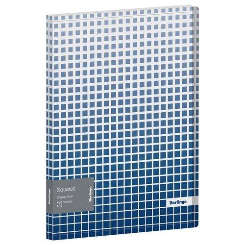 Фото - Berlingo Папка с 20 вкладышами Squares A4, пластик белый/синий berlingo папка со 100 вкладышами standard a4 пластик синий