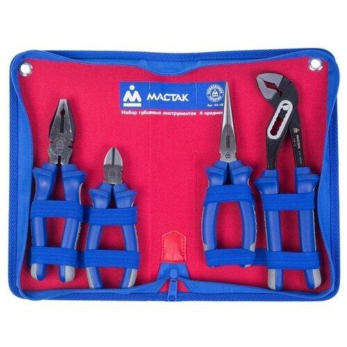 Фото - Набор шарнирно-губцевого инструмента МАСТАК 03-4Z, 4 предм., красный/синий набор отверток мастак 04 20c 20 предм красный синий