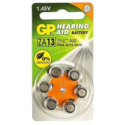 Фото - Батарейка цинковая GP, ZA13 (PR48)-6BL, для слуховых аппаратов, 1.45В, блистер, 6 шт. 3045151 батарейка rayovac peak za13 6 шт