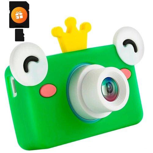 Детский цифровой фотоаппарат с чехлом - Лягушка 32 МП + чехол и флешка 4GB в ПОДАРОК / Лучшие детские фото на ярком дисплее 2 дюйма / Оригинальный подарок для ребенка детская фото и видео камера, зеленый