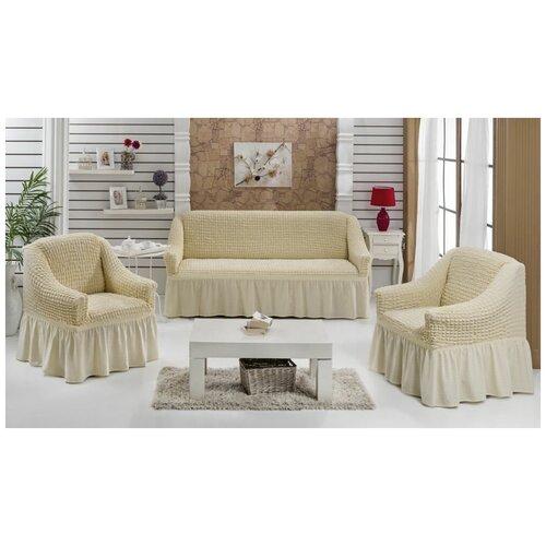 Чехлы на угловой диван и кресло, цвет: ванильный