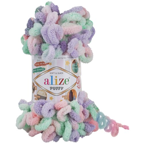 Пряжа Alize Puffy Color, цвет: 5938, 9 м, 100 грамм (5 мотков)