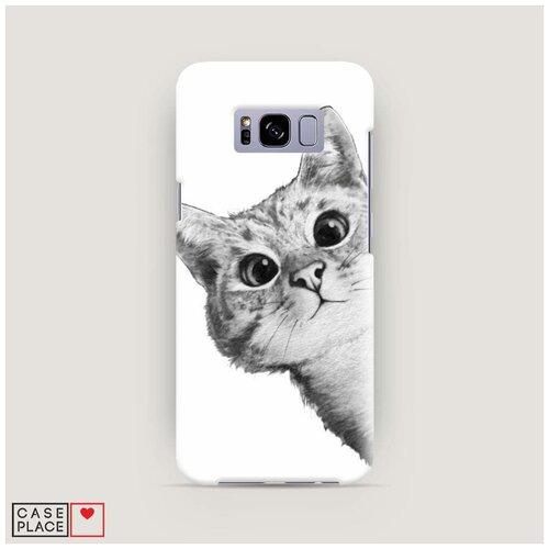 Чехол Пластиковый Samsung Galaxy S8 Кот рисунок черно-белый