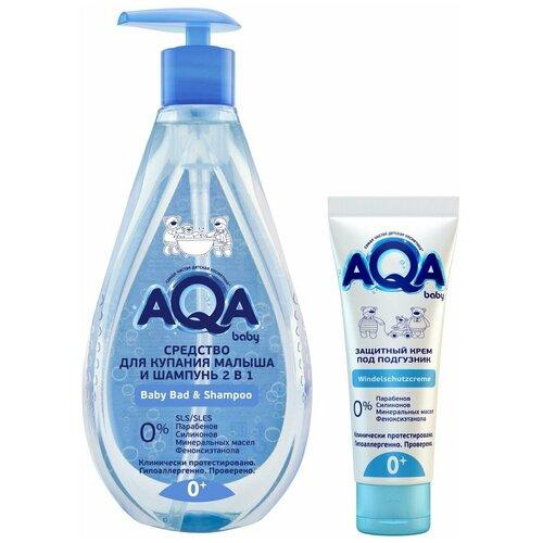 AQA baby Набор: Средство для купания и шампунь 250 мл. + Крем защитный под подгузник AQA baby 75 мл. недорого